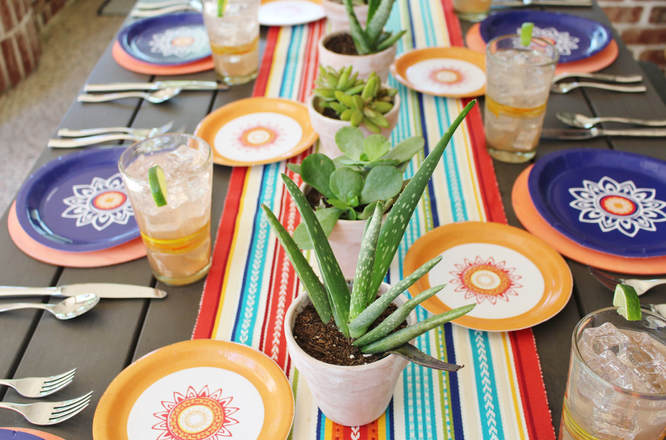 modern fiesta tablescape with succulent centerpieces