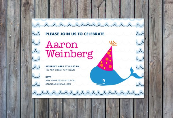 Whale Theme Birthday Party Invitation- Pink