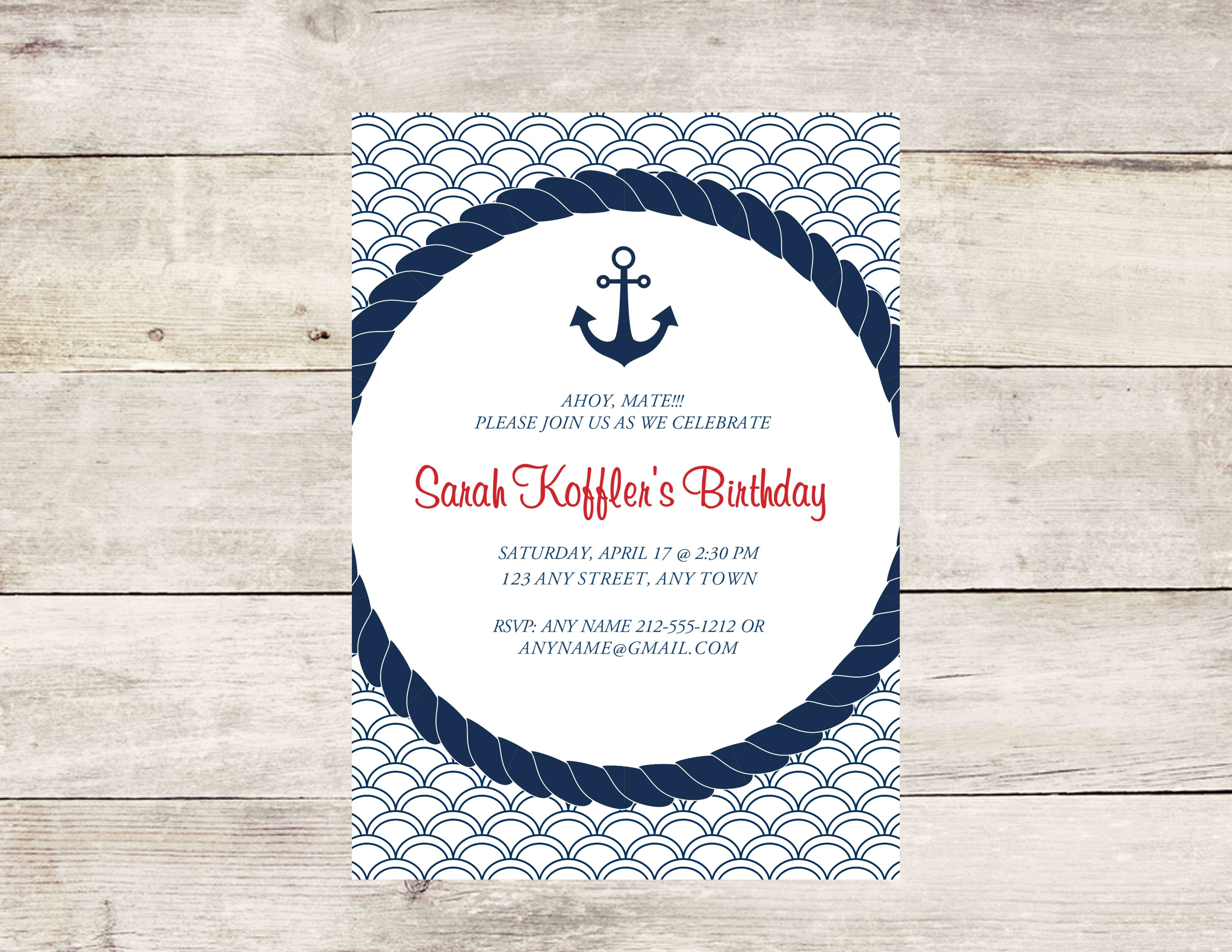 Nautical Anchor Party Invitation - Crowning Details