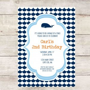 Whale Party Invitation- Nautical Party Invitation