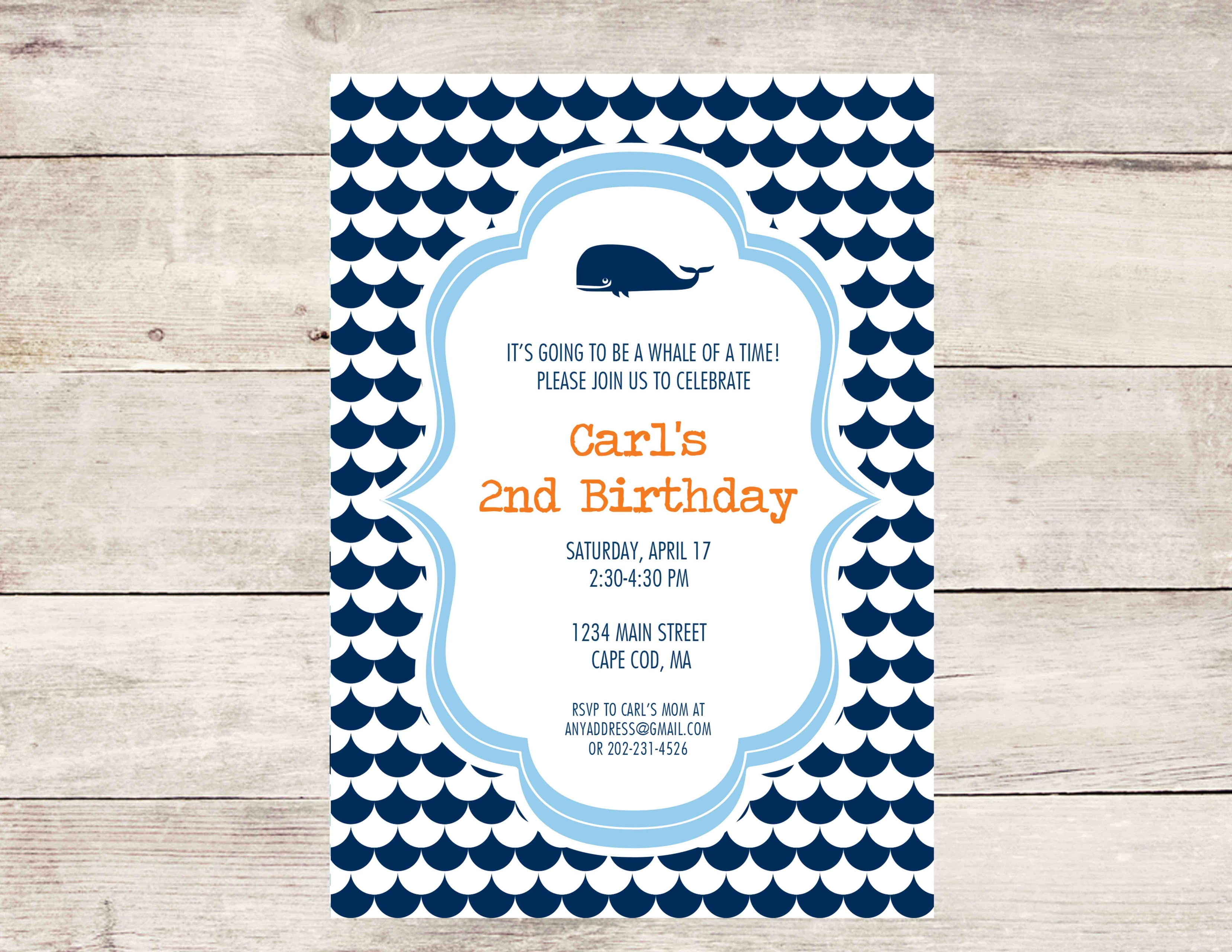 Whale Party Invitation- Nautical Party Invitation - Crowning Details