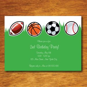 Sports Birthday Party Invitation- Green Grass