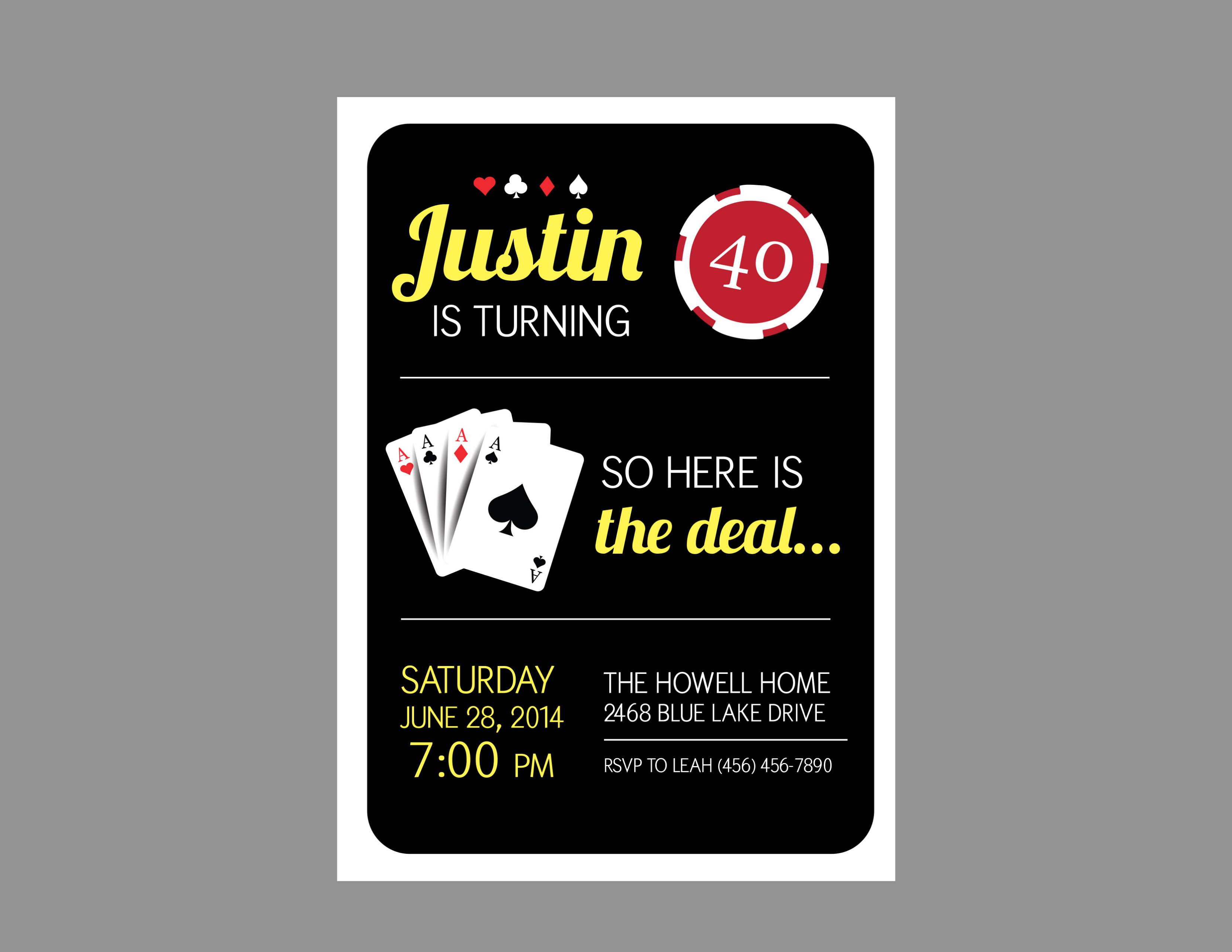 Casino Theme Party Invitation - Crowning Details