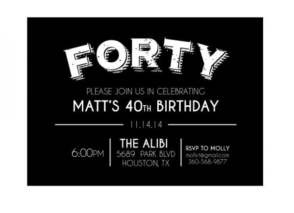 Forty Birthday Party Invitation