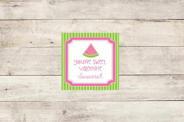 """You're Sweet, Valentine"" Watermelon Theme Tags"