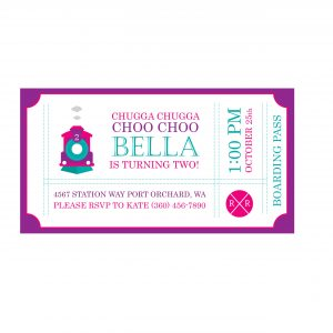 Train Birthday Party Invitation- Pink Ticket