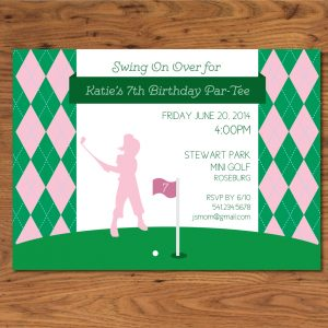Girls' Golf Theme Birthday Party Invitation