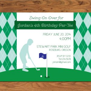 Boys' Golf Theme Birthday Party Invitation
