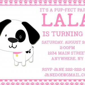 Puppy Birthday Party Invitation- Black & White