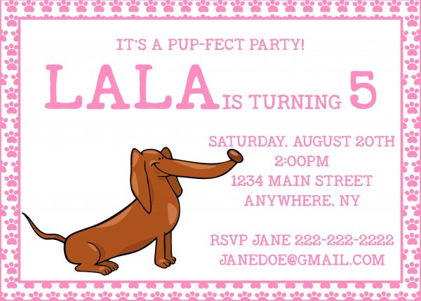 Pup-fect Puppy Birthday Party Invitation