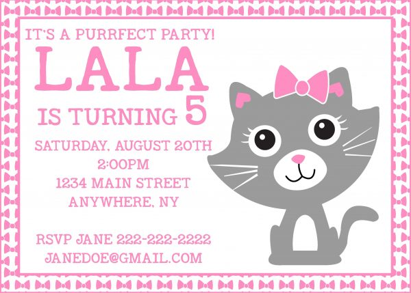 Purr-fect Kitty Birthday Party Invitation