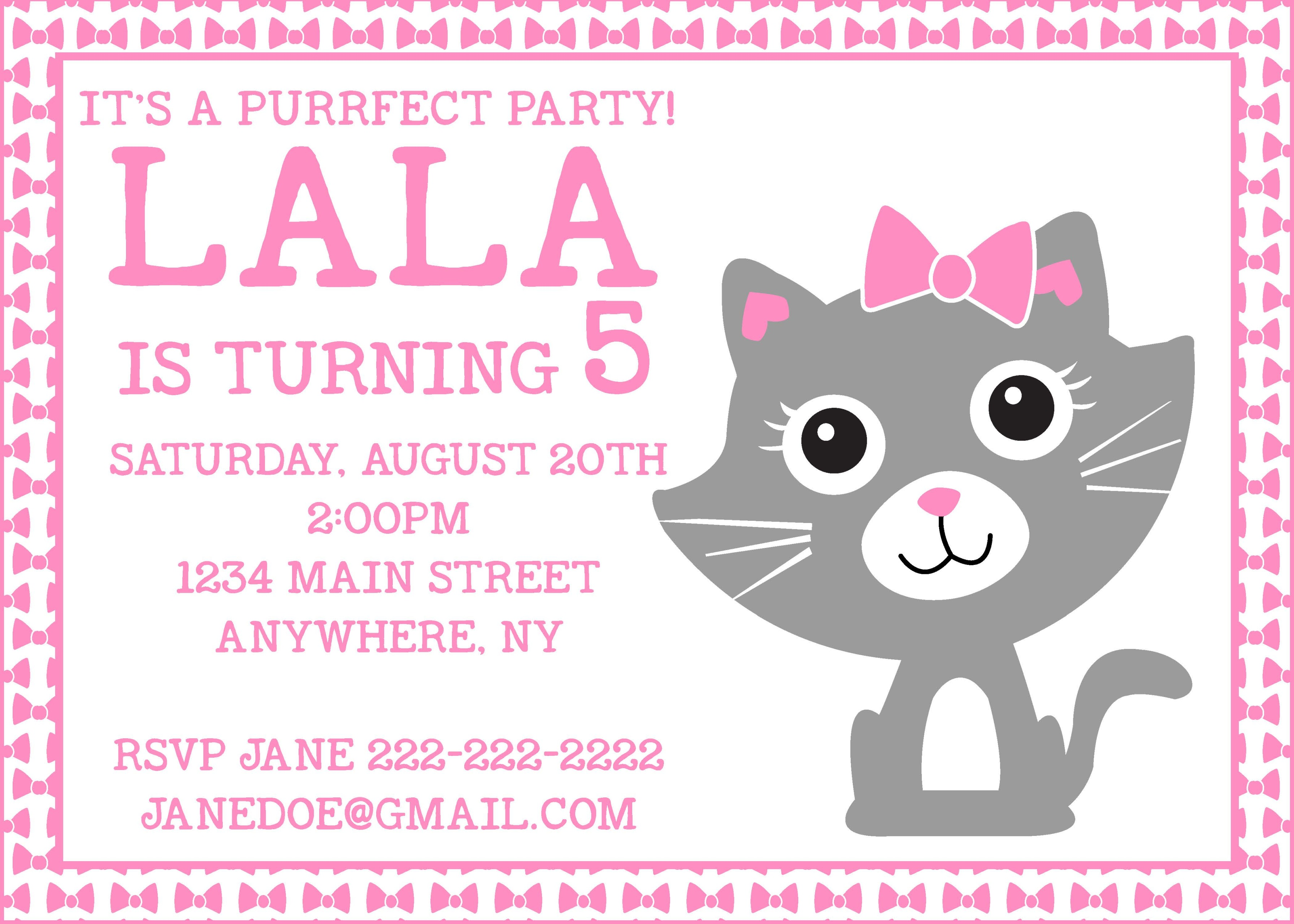 Purr-fect Kitty Birthday Party Invitation - Crowning Details