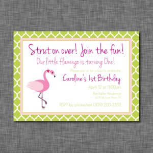 Flamingo Birthday Party Invitation- Lattice Pattern