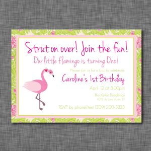 Flamingo Birthday Party Invitation- Luau Pattern