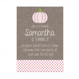 Lil' Pumpkin Birthday Party Invitation- Vertical