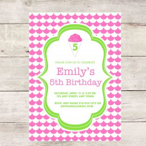 Snow Cone Birthday Party Invitation- Pink/Green