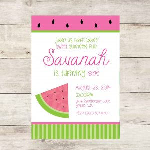 Pink Watermelon Birthday Party Invitation