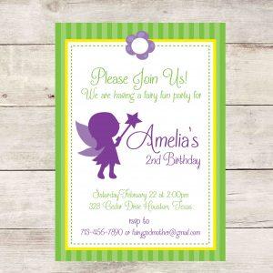 Fairy Birthday Party Invitation- Purple