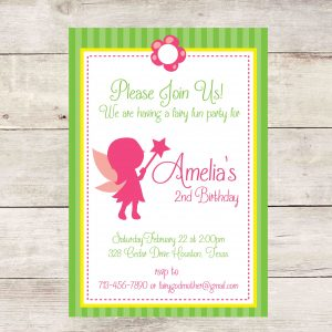 Fairy Birthday Party Invitation- Pink
