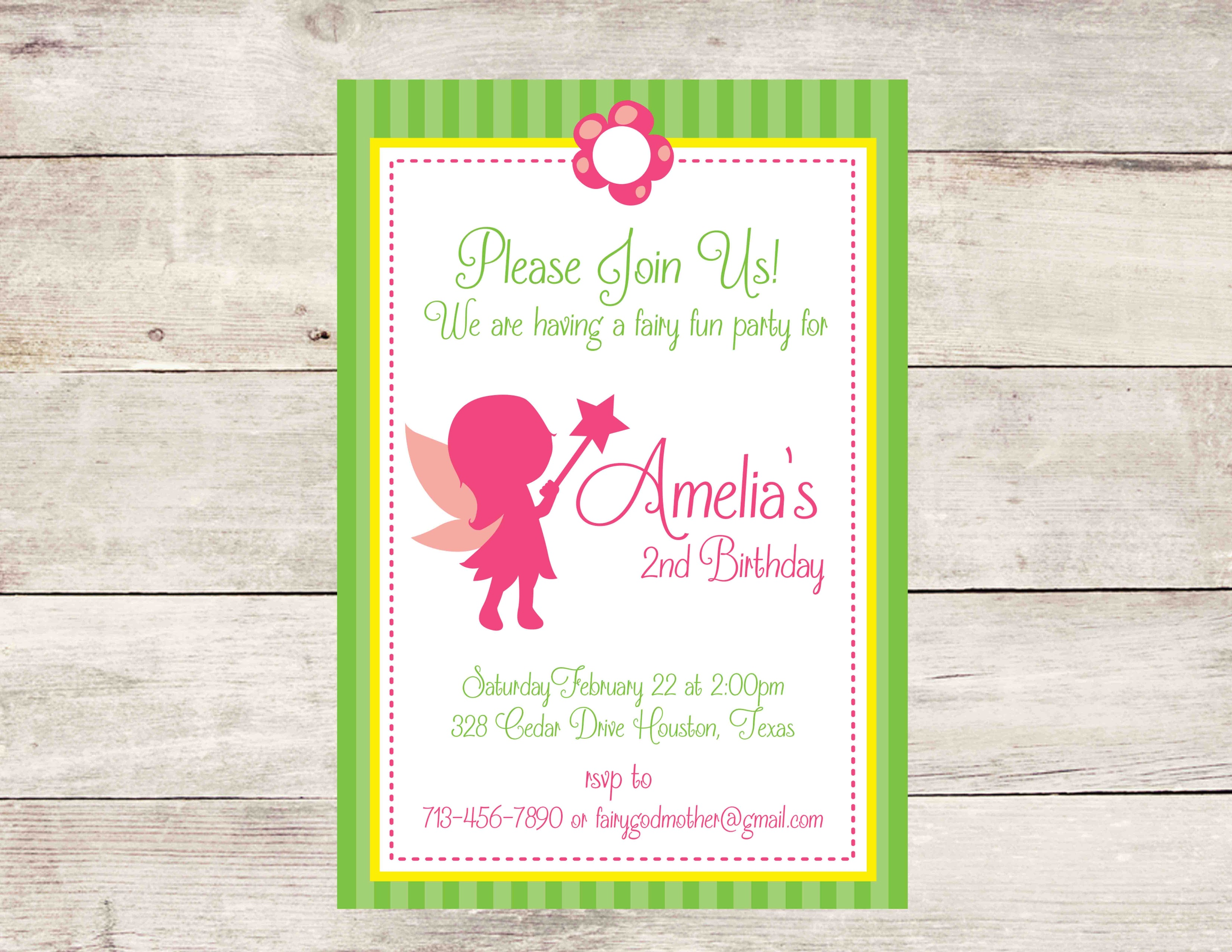 Fairy Birthday Party Invitation Pink