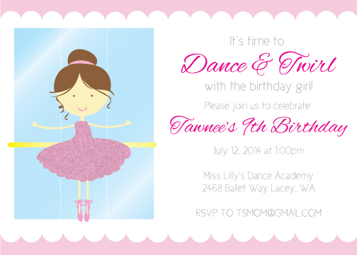 Ballerina Birthday Party Invitation- Brunette