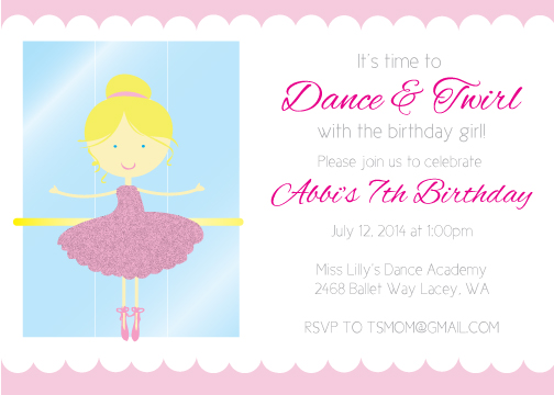Ballerina Birthday Party Invitation- Blonde