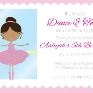 Ballerina Birthday Party Invitation- Ethnic