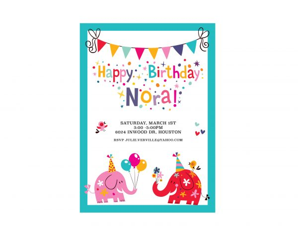 Party Animals Birthday Party Invitation- Vertical