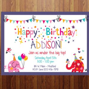 Party Animals Birthday Party Invitation- Purple