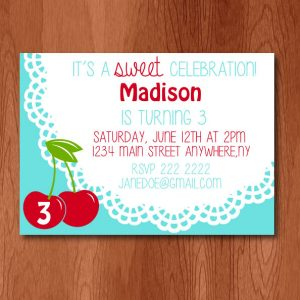 Sweet Cherries Birthday Party Invitation