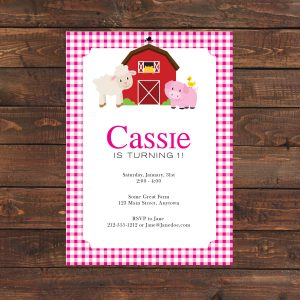 Barnyard Invitation- Pink Gingham