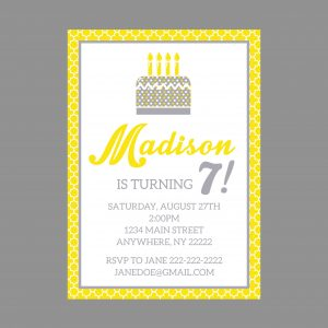Modern Yellow & Grey Birthday Party Invitation