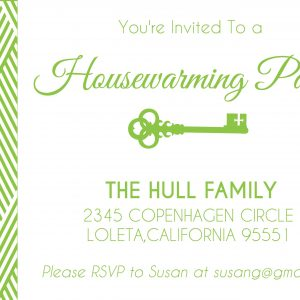 Housewarming Party Invitation- Lime Green