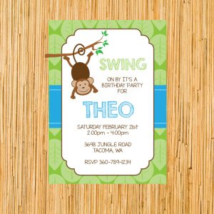 Monkey Birthday Party Invitation- Boy