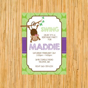 Monkey Birthday Party Invitation- Girl