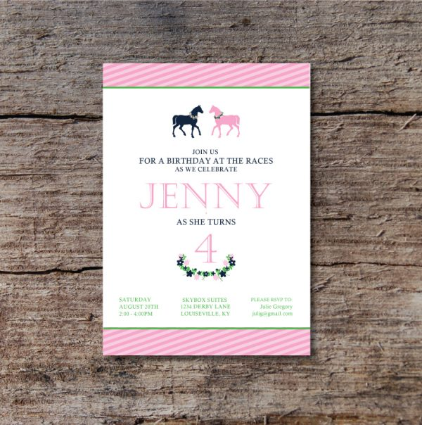 Derby Birthday Party Invitation- Polo/Horse Birthday Party Invitation