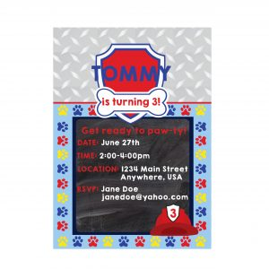 Paw Patrol Birthday Party Invitation- Marshall