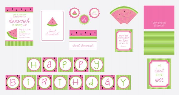 Pink Watermelon Birthday Party Package