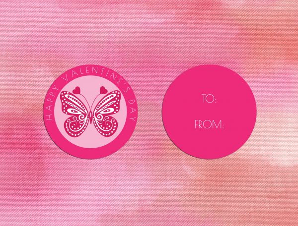 Pink Butterfly Valentine's Day Tags