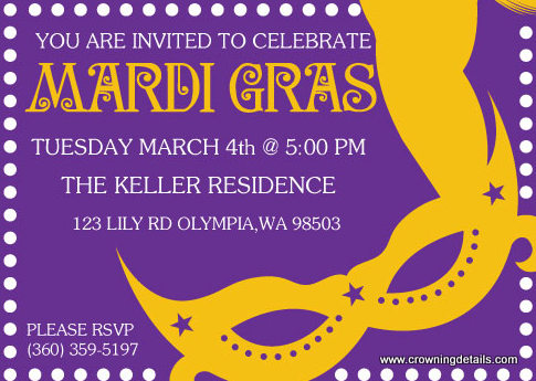 Mardi Gras Mask Party Invitation