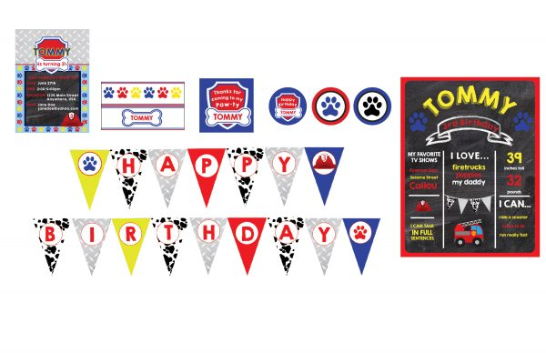Paw Patrol Birthday Party Package- Marshall/Fireman Inspired