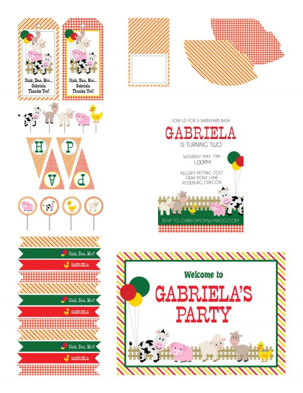 Barnyard Birthday Party Printables