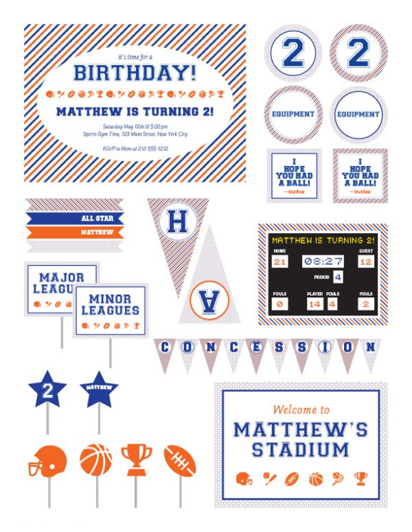 Vintage Sports Birthday Party Package
