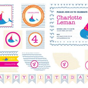 Pink & Orange Whale Birthday Party Package