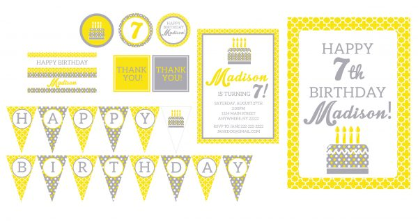 Modern Yellow & Gray Birthday Party Package