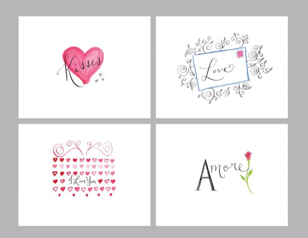 Hand Painted Valentine's Day/Anniversary Gift Cards