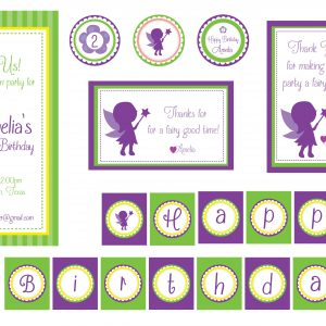 Purple/Green Fairy Birthday Party Package