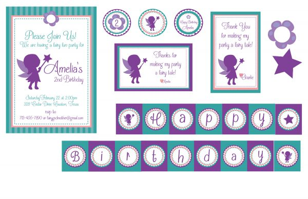 Teal/Purple Fairy Birthday Party Package