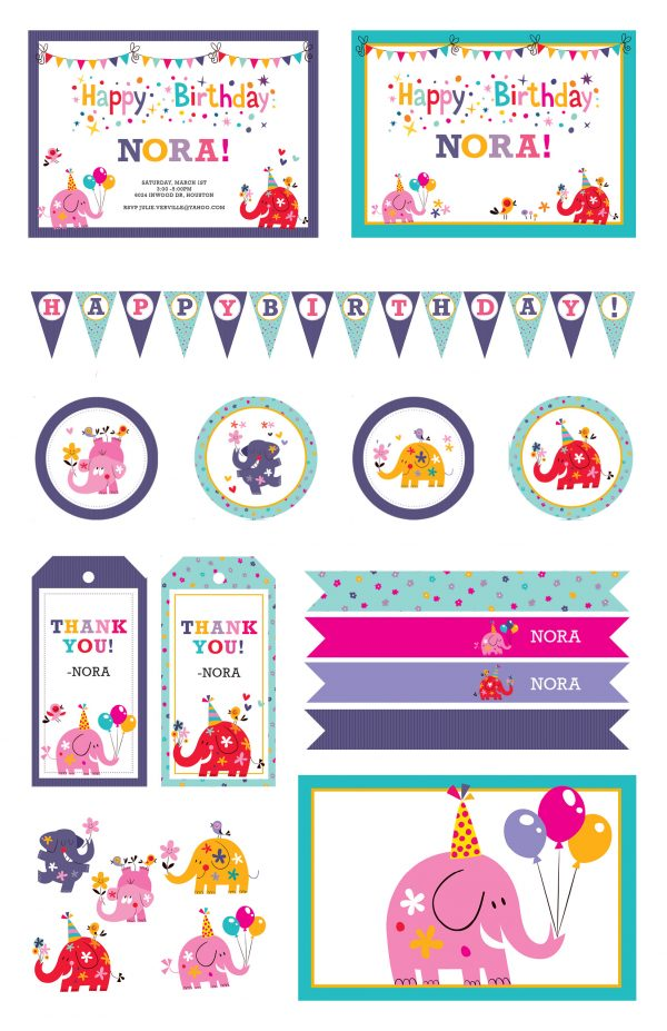 Cute Elephants Birthday Party Package