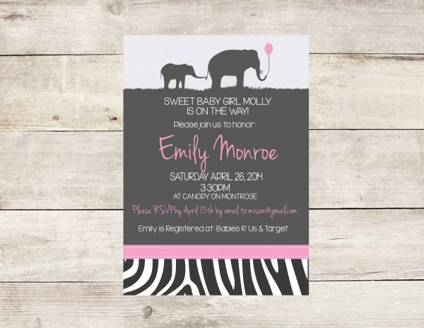 Safari Theme Baby Shower Invitation (Pink)